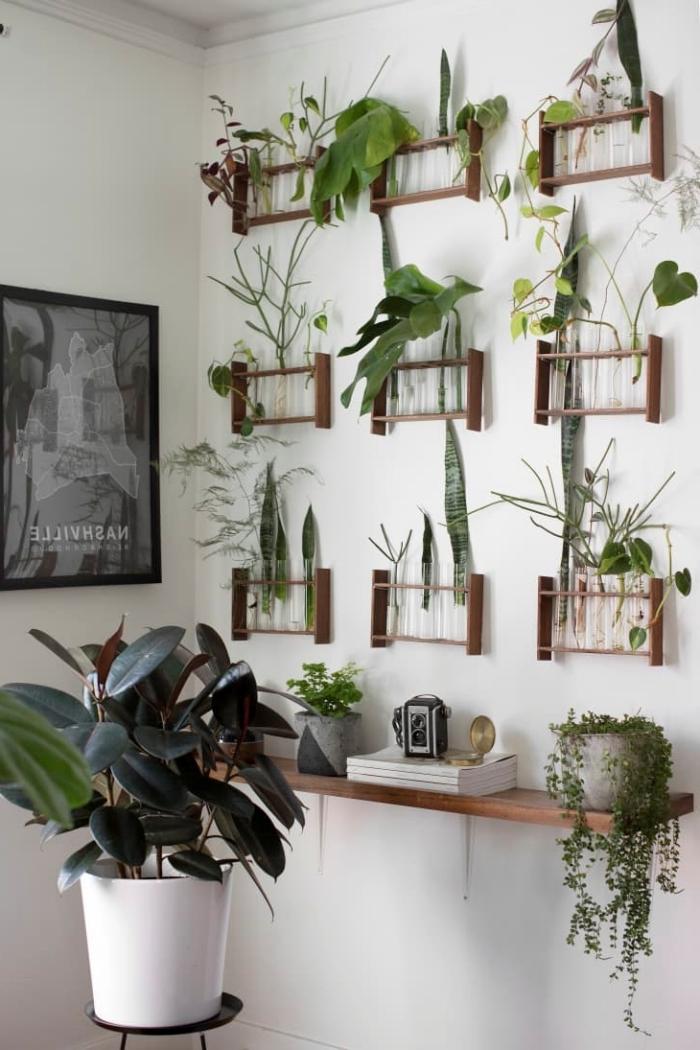 cadre vegetal mural rangement support bois affiche blanc et noir pot de fleur blanc étagère suspendue