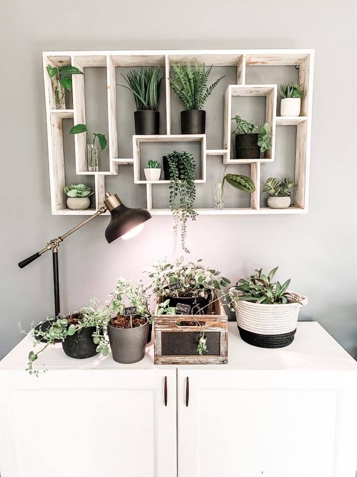 cadre vegetal peinture murale gris clair diy étagère murale en bois avec compartiments rangement