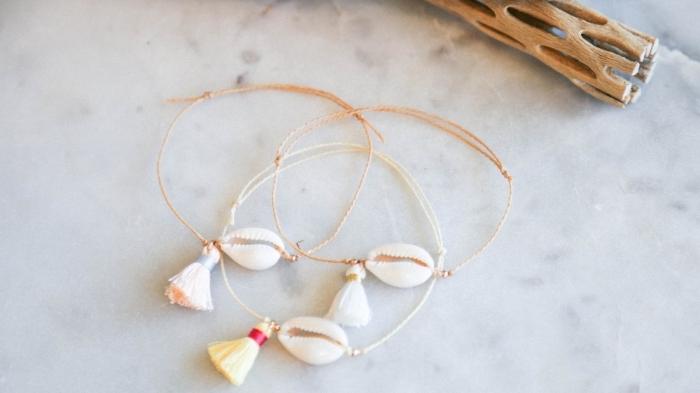 comment faire des bijoux diy bracelet cadeau a faire soi meme pour maman coquillage fil tassel