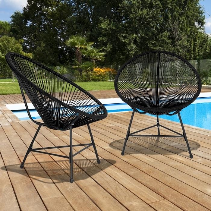déco extérieur fauteuil de jardin noir lot meubles chaise oeuf cordage plastique terrasse bois