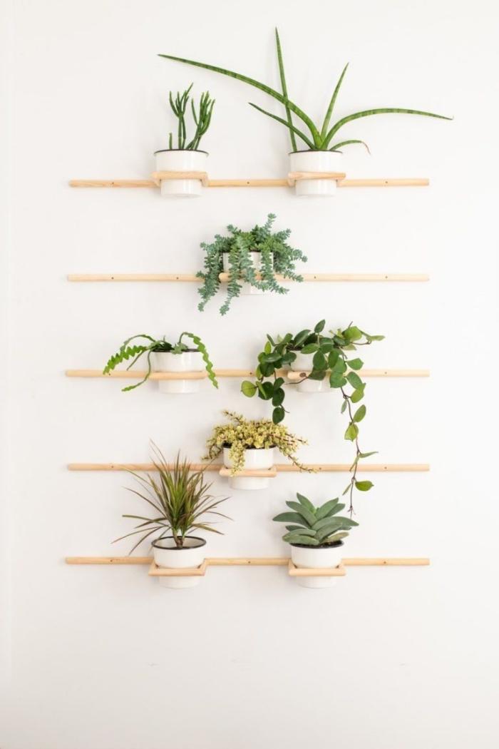 déco murale avec plantes style minimaliste support bois diy mur végétal bois rangement pots fleurs