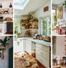décoration de cuisine style bohème revetement crédence carrelage rangement ouvert étagère bois