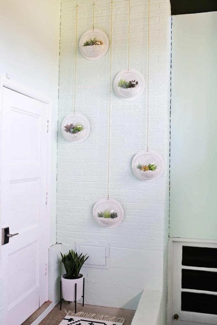 décoration murale bulles terrarium pour plantes suspension design intérieur tapis blanc et noir