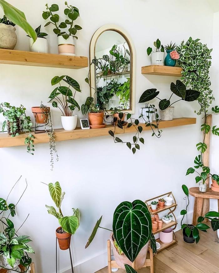 deco murale plante rangement mural ouvert étagère en bois longueur miroir cadre bois pot coloré