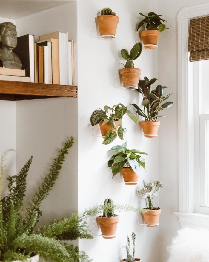 deco plante interieur boho chic style rangement mural étagère bois livre diy mur végétal pots