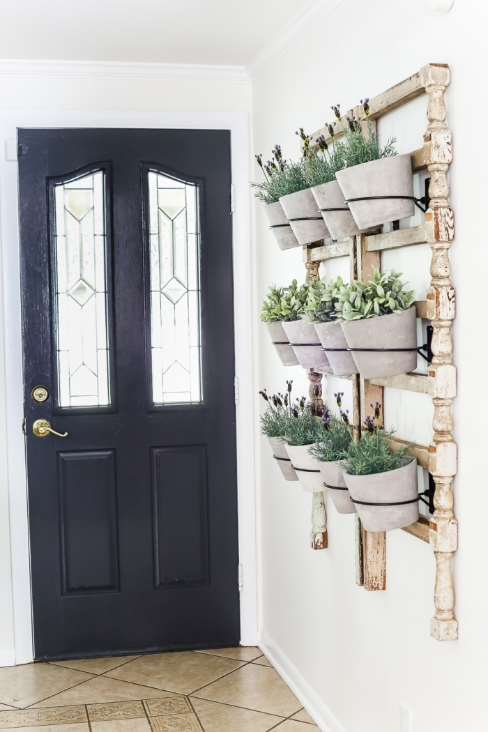 deco plante interieur comment décorer couloir d entrée mur avec plantes pots suspendus cadre bois