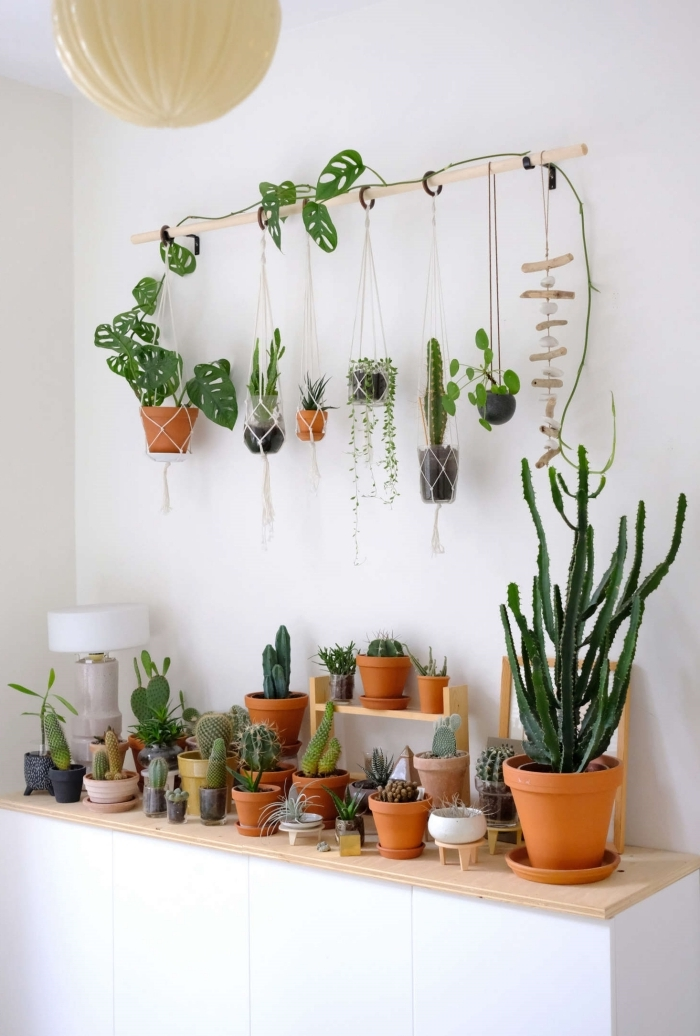 decoration vegetale salon bohème rangement bois planche diy suspension bâtonnet bois macramé plantes