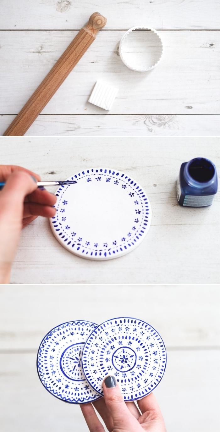 dessin facile motifs géométriques peinture acrylique bleu foncé bricolage fête des mères sous verre