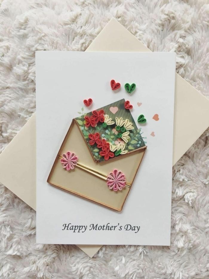 diy carte fete des meres art papier cadeau a faire soi meme facile quilling fleur facile papier cartonné