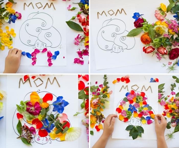 diy carte voeux originale cadeau fete des meres fait main décoration pétales de fleurs dessin maman