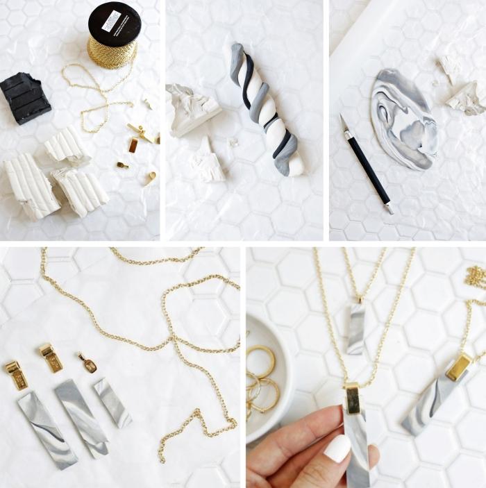 faire des bijoux diy collier en argile effet marbre cadeau fête des mères diy bricolage ado