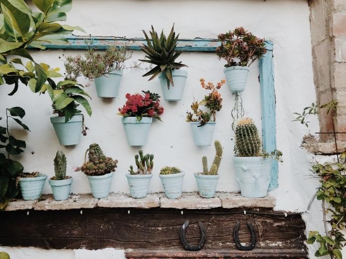 fleur murale espèces décoration rustique cadre bois vintage bleu pots de fleurs personnalisés peinture