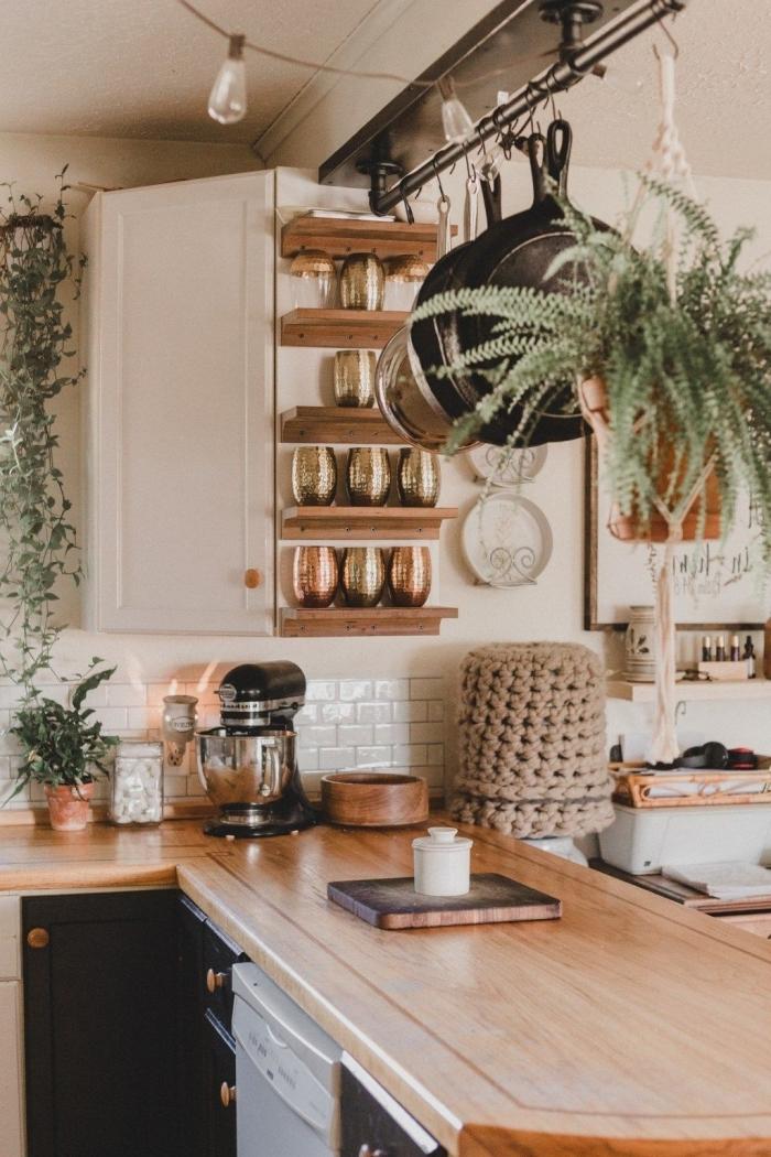 guirlande lumineuse plante suspendue macramé plante grimpante d intérieur modele de cuisine moderne