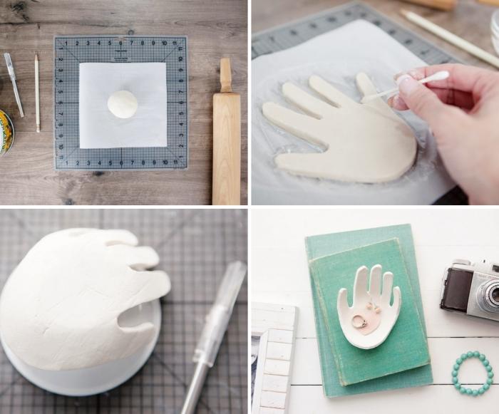 idée cadeau fête des mères à fabriquer pour ado organisateur bijoux bol empreinte de main en argile