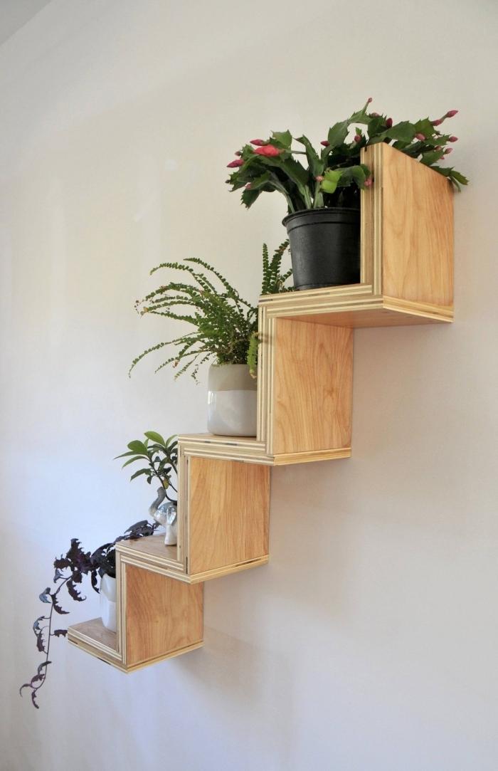 idée déco murale avec plante design couloir support mural pour plantes d intérieur bois