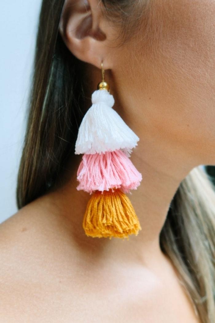 idée de cadeau pour la fête des mères diy boucles d oreilles tassels laine comment faire bijoux