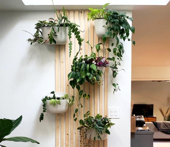 jardinière murale intérieur support en bois jardinière blanche suspendue plante grimpante