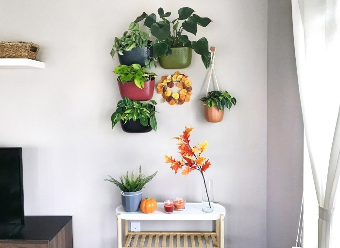 jardinière suspendues deco plante interieur salon mur accent avec plantes panier fibre naturelle