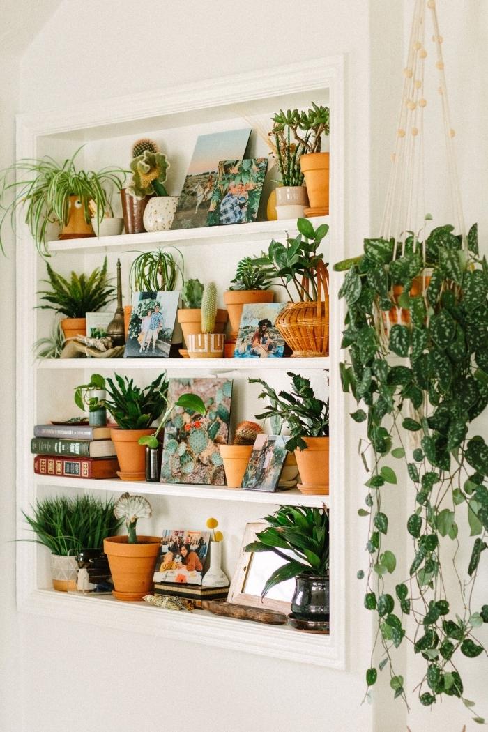 mur accent couloir style bohème intérieur suspension macramé pour plante grimpante interieur