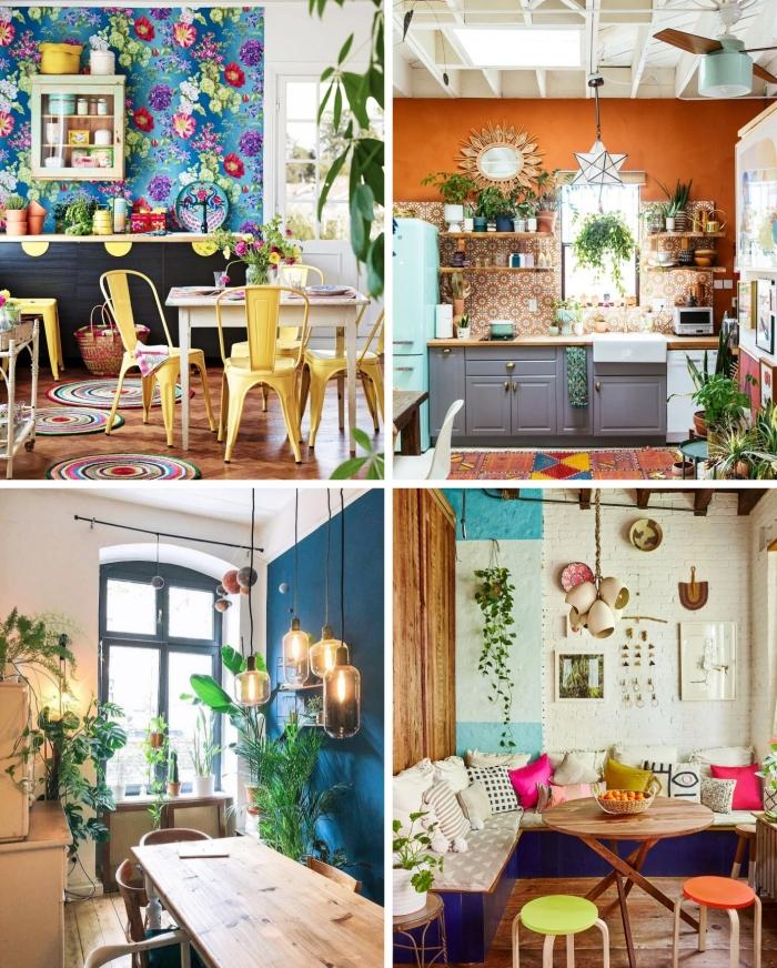 peindre un mur de couleur déco cuisine style boho chic meubles en bois papier peint motifs