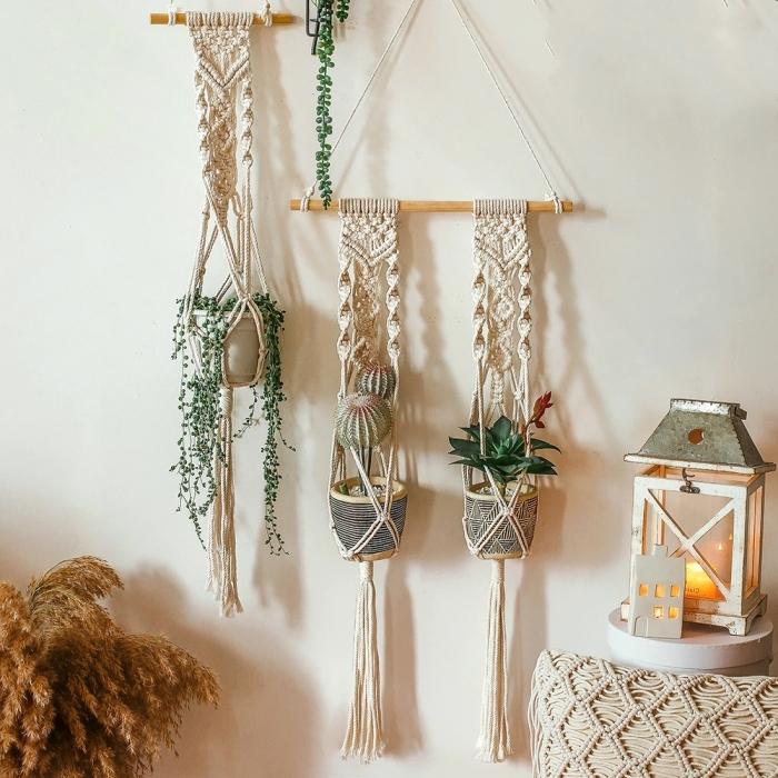 plante decoration suspension macramé pot céramique lanterne coussin macramé pampas herbe séchée