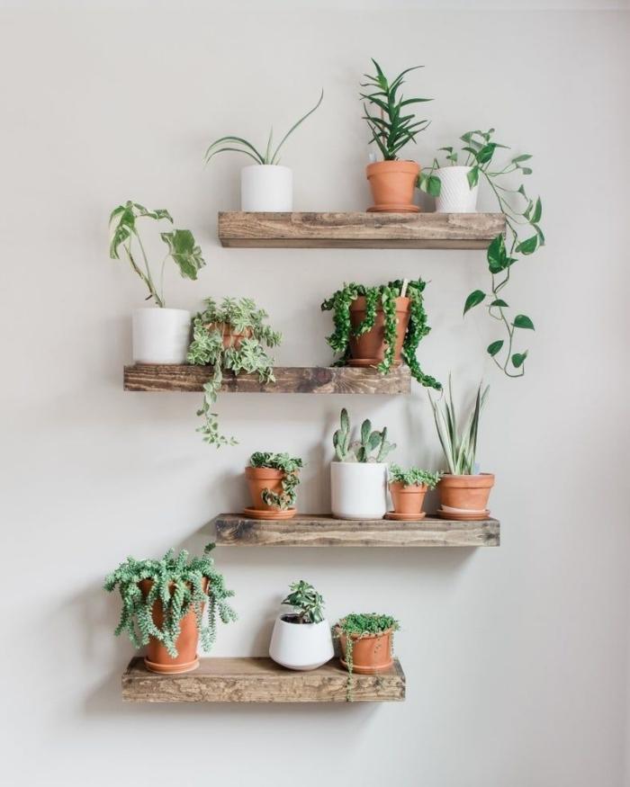 pot de fleur deco rangement vertical mur jardin intérieur étagères suspendues en bois brut