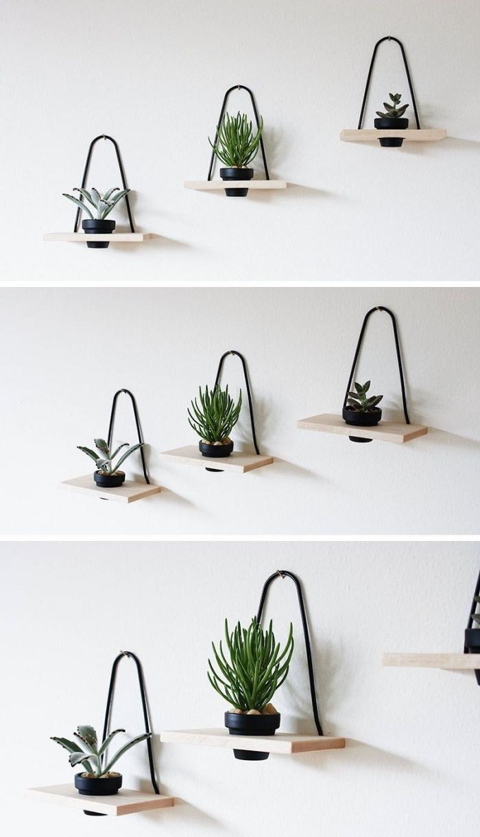pot de fleur mural décoration avec mini étagère suspendue bois plantes vertes intérieur salon blanc