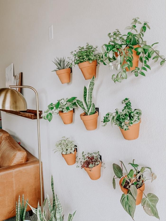rangement crochets pot de fleur mural suspendu plantes vertes lampe sur pied or canapé cuir marron