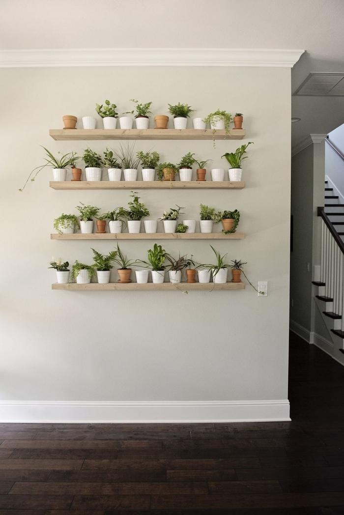 support mural pour plantes d intérieur décoration couloir d entrée avec mur végétal rangement pots