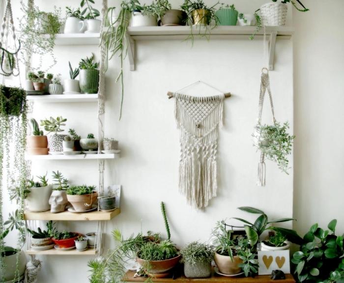 suspension macramé murale plante decoration salon bohème style rangement étagère verticale