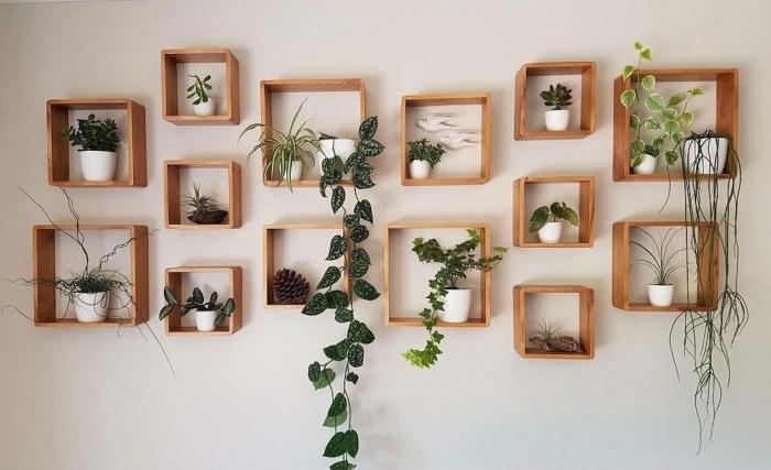 tableau vegetal diy mur d accents avec forme géométrique cadre bois pour rangement plantes