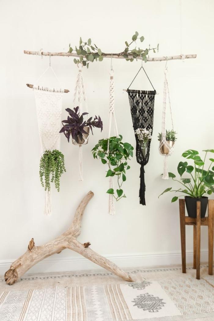 tapis blanc a motifs plante decoration bois flotté suspensions macramés pot de fleur noir mat