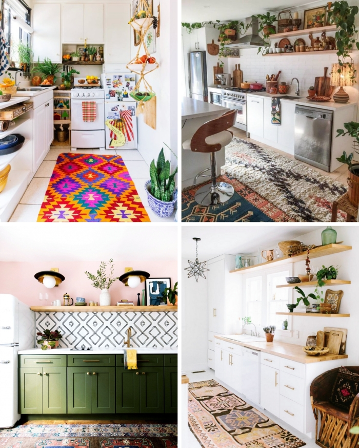 tapis multicolore agencement cuisine en l déco petite cuisine vaisselle colorée meubles en bois