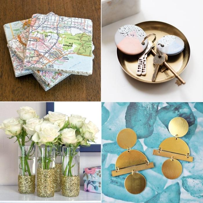 vase personnalisé peinture glitter or boucles d oreilles diy comment faire un cadeau pour sa maman facile