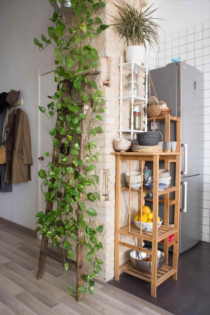 échelle décorative bois colonne briques plante d intérieur tombante rangement ouvert bois