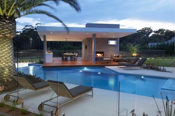 éclairage piscine led cuisine d ete exterieure couverte style contemporain revetement sol bois foncé