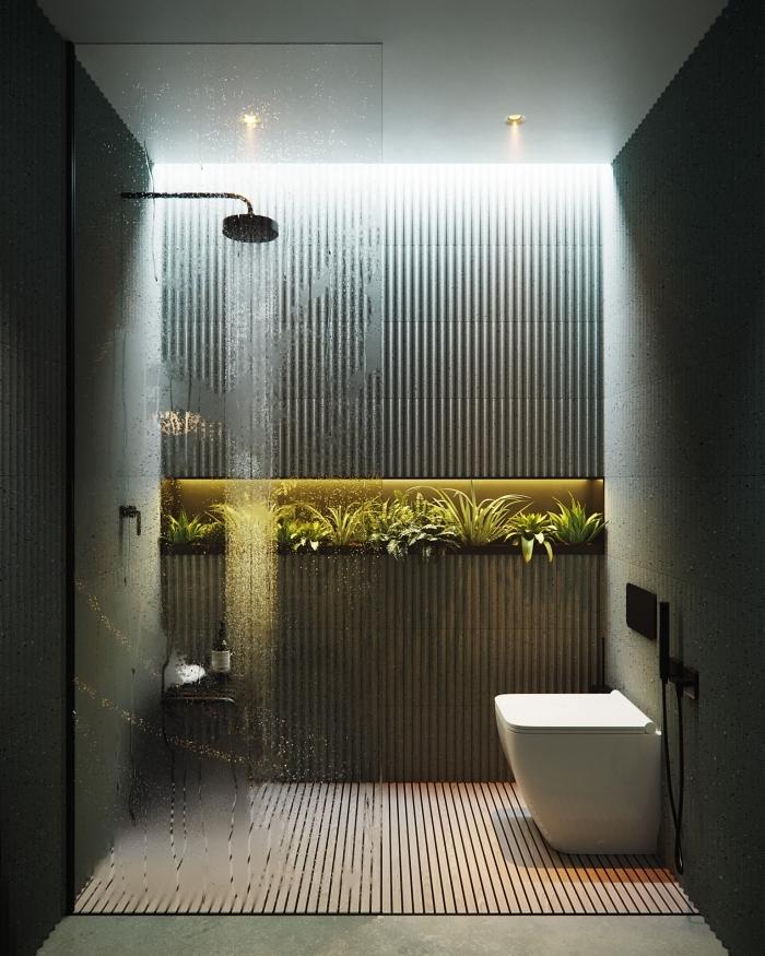 éclairage spots led douche pluie vitrage comment transformer ses wc en espace déco cuvette wc blanche