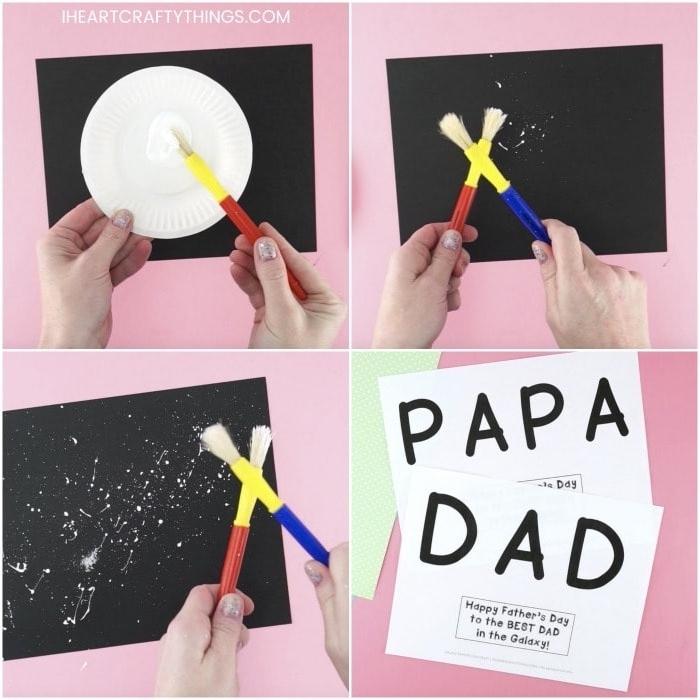 activité manuelle fete des peres idée de constellation peinture sur papier noir lettres paillettes étoiles