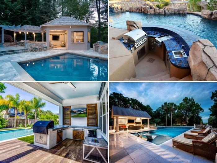 aménagement cuisine d été avec piscine revetement de terrasse en bois îlot bar pierre pergola bois cuisine couverte