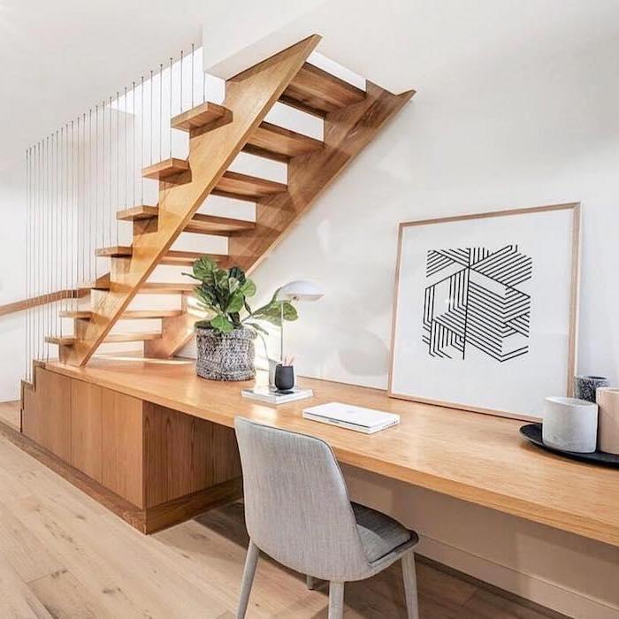 aménagement sous escalier sans contremarche en bois poste de travail stylé décoré de peinture moderne chaise grise décoration