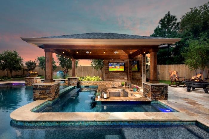 amenagement autour piscine éclairage extérieur cuisine d été équipement inox plan travail pierre