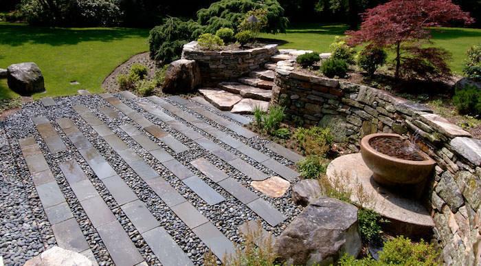 bordure de jardin en pierre allée an gravier et pierres arbres et buissons