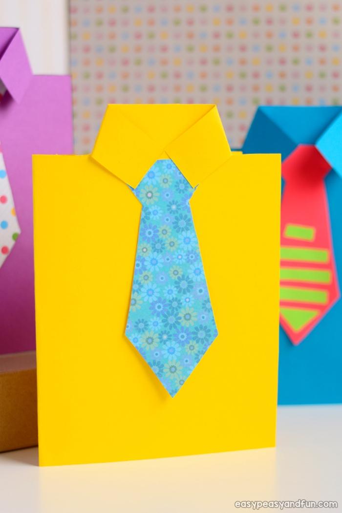 bricolage fête des pères pour tout petit idée de cravate et chemise de papier