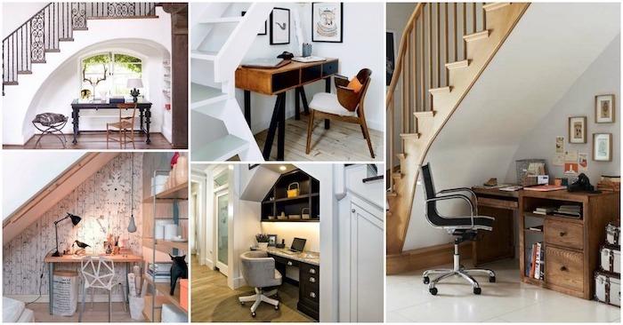 bureau sous escalier idées en photo stylées escalier en bois chaise de bureau meuble sous escalier