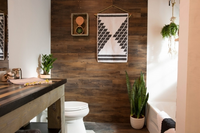 cache pot blanc revetement mural aspect bois deco toilette bois suspension murale ethniques motifs