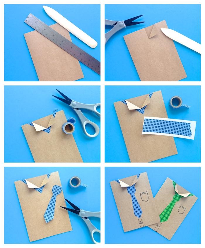 cadeau fete des peres a fabriquer maternelle carte diy papa en carton avec cravate washi tape