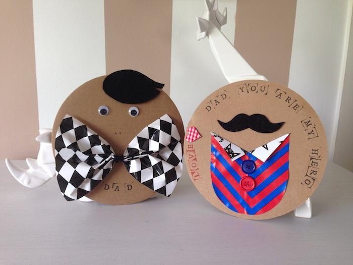 carte papa ronde papier kraft avec noeud de papillon chemise moustache bricolage fête des pères