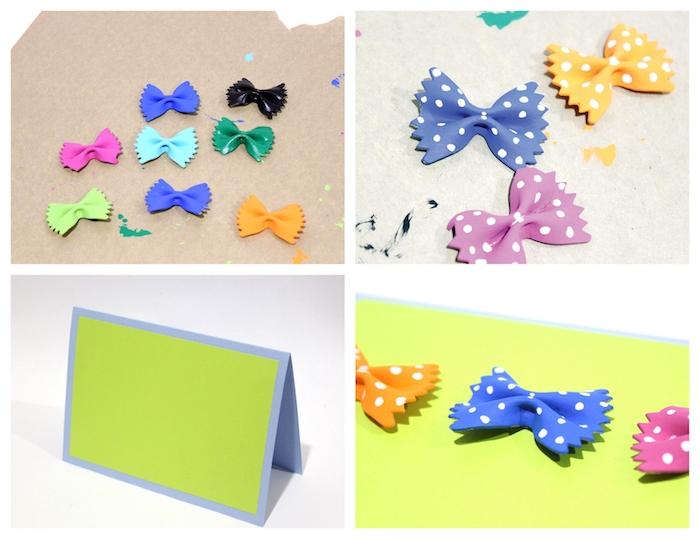 carte pour papa diy avec des pâtes en forme de papillon colorés et collés sur papier