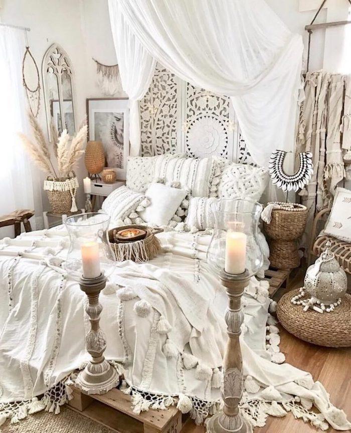 chambre style bohème blanche accents en totin beige deco boheme chic