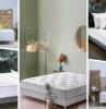 choix de matelas types mousse mémoire latex papier peint tête de lit bois coussin décoratif jaune